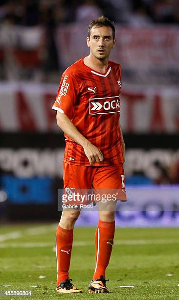 Federico Mancuello of Independiente looks on during a match between River Plate and Independiente as part of ninth round of Torneo de Transicion 2014...