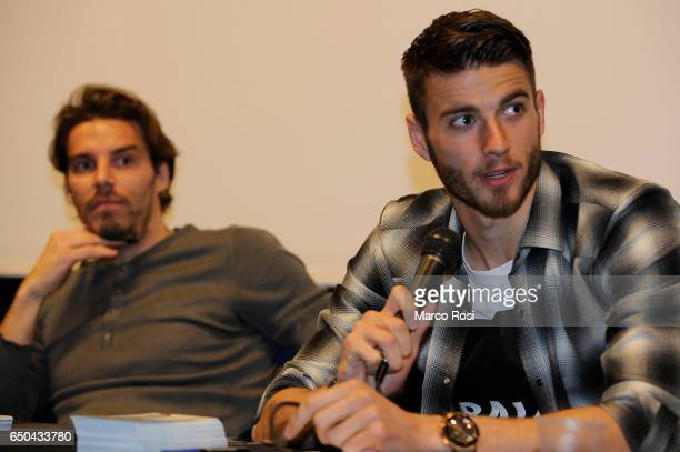 Federico Marchetti and Wesley Hoedt of SS Lazio meets school students with his teammates on March 9 2017 in Rome Italy