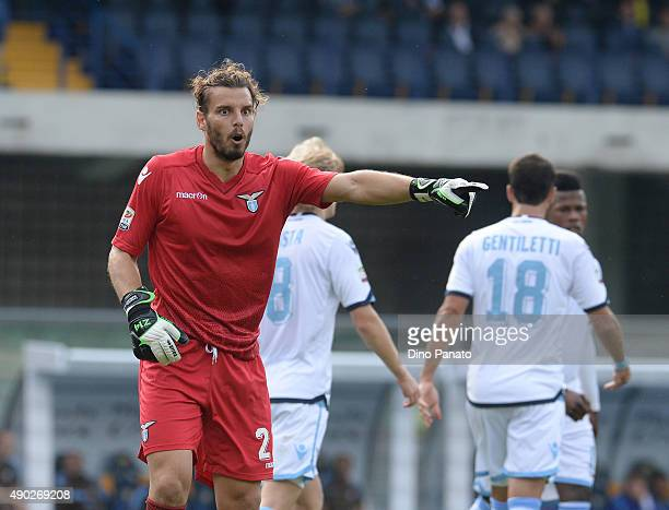 Federico Marchetti goalkeeper of SS Lazio gestures during the Serie A match between Hellas Verona FC and SS Lazio at Stadio Marc'Antonio Bentegodi on...
