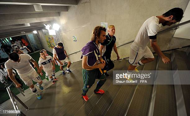 Federico Marchetti of Italy and his teammates head for the dressing room after losing a penalty shootout during the FIFA Confederations Cup Brazil...