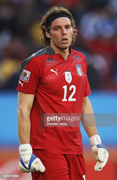Federico Marchetti of Italy looks dejected after Robert Vittek of Slovakia scored the opening goal during the 2010 FIFA World Cup South Africa Group...