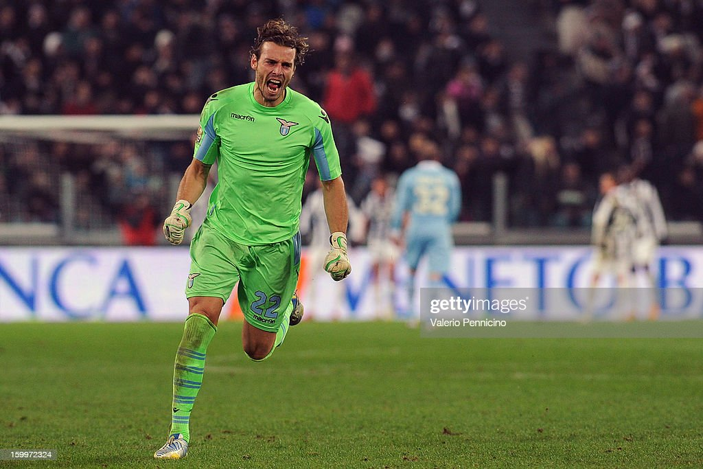 Federico Marchetti of S.S. Lazio celebrates the goal of team-mates Stefano Mauri during the TIM cup match between Juventus FC and S.S. Lazio at Juventus Arena on January 22, 2013 in Turin, Italy.