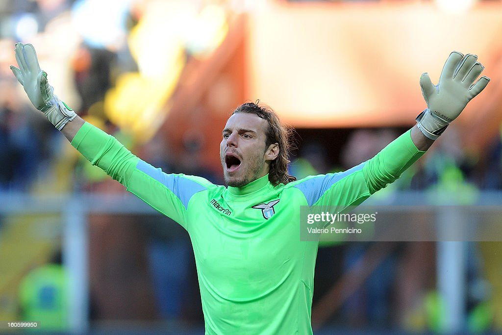 Federico Marchetti of S.S. Lazio reacts during the Serie A match between Genoa CFC and SS Lazio at Stadio Luigi Ferraris on February 3, 2013 in Genoa, Italy.