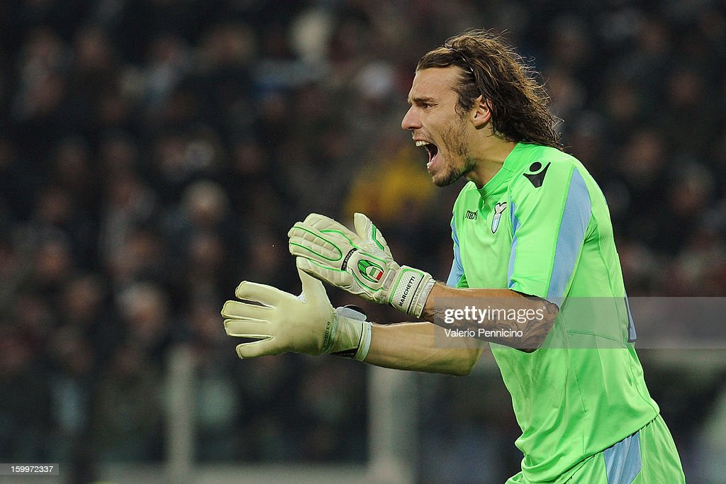 Federico Marchetti of S.S. Lazio reacts during the TIM cup match between Juventus FC and S.S. Lazio at Juventus Arena on January 22, 2013 in Turin, Italy.