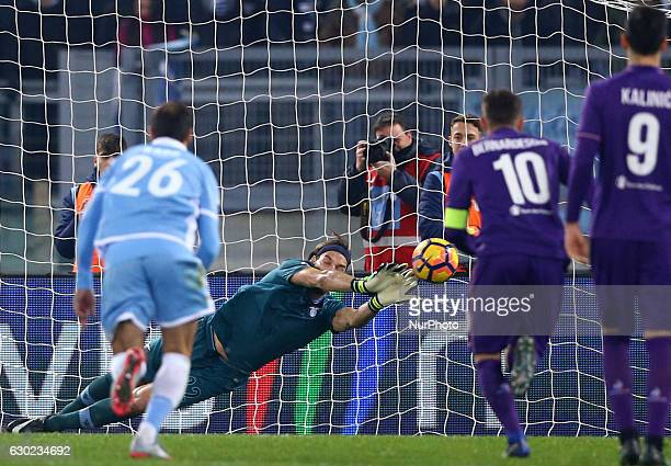 Federico Marchetti saving on the penalty kicked by Josip Ilicic at Olimpico Stadium in Rome Italy on December 18 2016