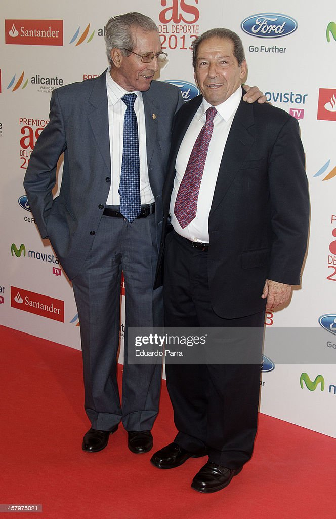 Federico Martin Bahamontes (L) and Enrique Collar attend 'As del deporte' awards 2013 photocall at Palace hotel on December 19, 2013 in Madrid, Spain.