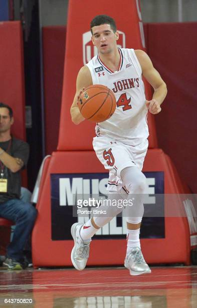 Federico Mussini of the St John's Red Storm dribbles against the DePaul Blue Demons during a game at Carnesecca Arena on January 16 2017 in the...