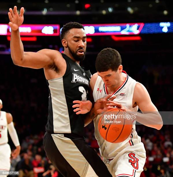 Federico Mussini of the St John's Red Storm is defended by Jalen Lindsey of the Providence Friars at Madison Square Garden on March 4 2017 in New...