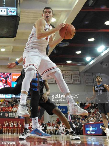 Federico Mussini of the St John's Red Storm rebounds against the DePaul Blue Demons during a game at Carnesecca Arena on January 16 2017 in the...