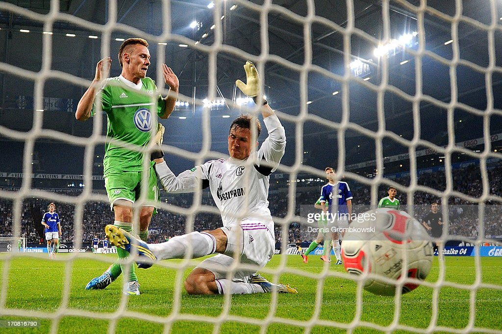 Federico Palacios-Martinez of Wolfsburg scores his team's second goal during the A Juniors Championships semifinal second leg match between Schalke 04 and VfL Wolfsburg at Veltins-Arena on June 18, 2013 in Gelsenkirchen, Germany.