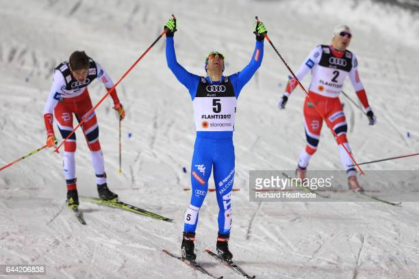 Federico Pellegrino of Italy crosses the finish lineto win the gold medal in the Men's 16KM Cross Country Sprint final during the FIS Nordic World...