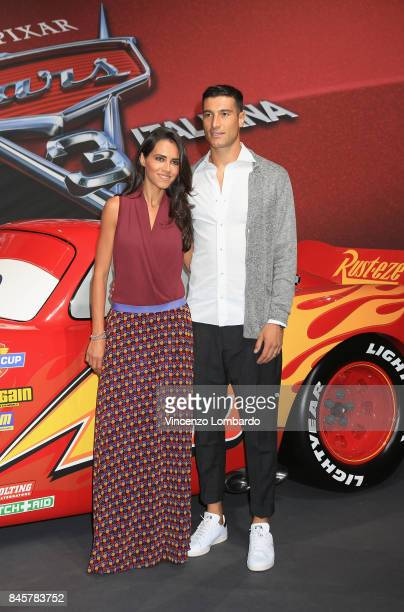 Federico Peluso and Sara Piccinini attend Cars 3 photocall in Milan on September 11 2017 in Milan Italy