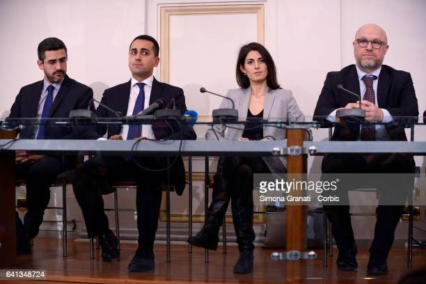 ROME ITALY FEBRUARY Federico Piccitto Mayor of Ragusa Riccardo Fraccaro Deputy of M5s Luigi Di Maio Virginia Raggi mayor of Rome Filippo Nogarin...