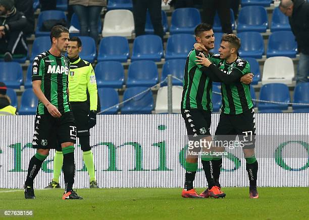 Federico Ricci and Lorenzo Pellegrini of Sassuolo celebrate the second goal during the Serie A match between US Sassuolo and Empoli FC at Mapei...