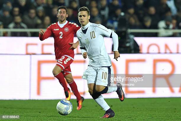 Federico Ricci of Italy in action during the International Friendly match between Italy U21 and Denmark U21 at Stadio Atleti Azzurri d'Italia on...