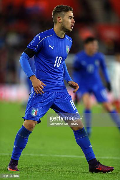 Federico Ricci of Italy U21 during the U21 International Friendly match between England and Italy at St Mary's Stadium on November 10 2016 in...