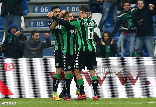 Federico Ricci of Sassuolo celebrates after scoring his team's second goal during the Serie A match between US Sassuolo and Empoli FC at Mapei...