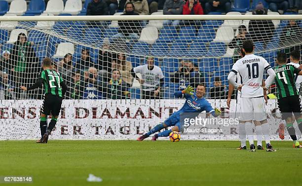 Federico Ricci of Sassuolo scores his team's second goal with penalty during the Serie A match between US Sassuolo and Empoli FC at Mapei Stadium...