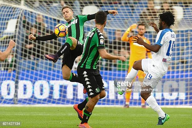 Federico Ricci of US Sassuolo in action during the Serie A match between US Sassuolo and Atalanta BC at Mapei Stadium Citta' del Tricolore on...