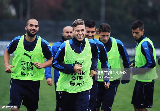 Federico Ricci with his teammates of Italy U21 in action during the Italy U21 training session on November 8 2016 in Rome Italy