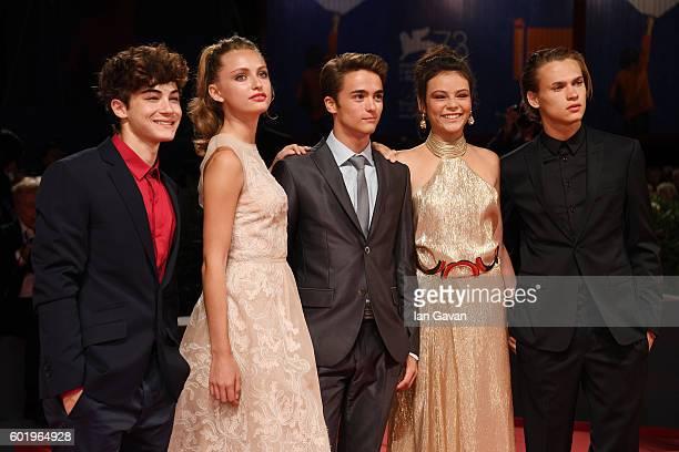 Federico Russo Beatrice Vendramin Leonardo Checchi Eleonora Gaggero and Saul Nanni attends the premiere of 'The Magnificent Seven' during the 73rd...