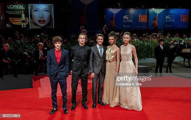Federico Russo Saul Nanni Leonardo Cecchi Eleonora Gaggero and Beatrice Vendramin of the TV series 'Alex Co' attend the premiere of 'The Magnificent...