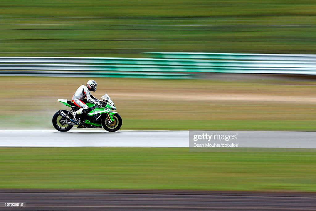 Federico Sandi of Italy on the Kawasaki ZX-10R for Team Pedercini competes during the World Superbikes Practice Session at TT Circuit Assen on April 26, 2013 in Assen, Netherlands.