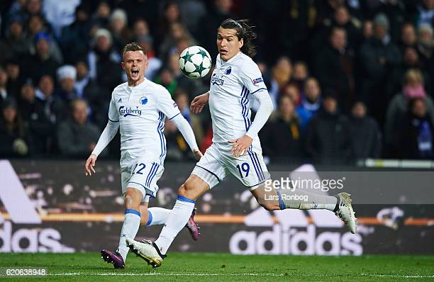 Federico Santander and Peter Ankersen of FC Copenhagen in action during the UEFA Champions League match between FC Copenhagen and Leicester City FC...