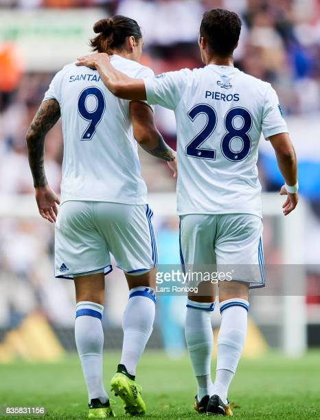 Federico Santander and Pieros Sotiriou of FC Copenhagen celebrate after scoring their first goal during the Danish Alka Superliga match between FC...