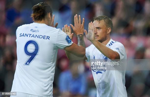 Federico Santander and Pierre Bengtsson of FC Copenhagen celebrate during the UEFA Champions League Qualification match between FC Copenhagen and MSK...