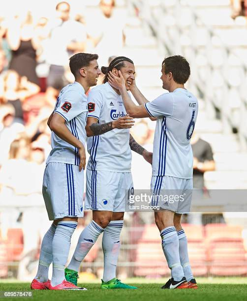 Federico Santander and William Kvist of FC Copenhagen celebrate after scoring their second goal during the Danish Alka Superliga match between FC...