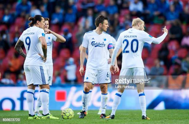 Federico Santander Jan Gregus William Kvist and Nicolai Boilesen of FC Copenhagen discussing after the the 12 goal scored by Sonderjyske during the...