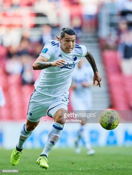 Federico Santander of FC Copenhagen $ac the Danish Alka Superliga match between FC Copenhagen and Sonderjyske at Telia Parken Stadium on August 19...