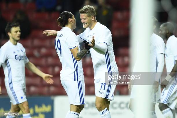 Federico Santander of FC Copenhagen and Andreas Cornelius of FC Copenhagen celebrates the 20 goal of Andreas Cornelius during the Danish Alka...