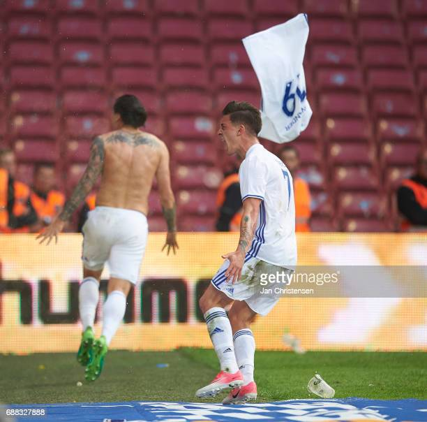 Federico Santander of FC Copenhagen and Benjamin Verbic of FC Copenhagen celebrate after the 21 goal from Federico Santander during the Danish Cup...