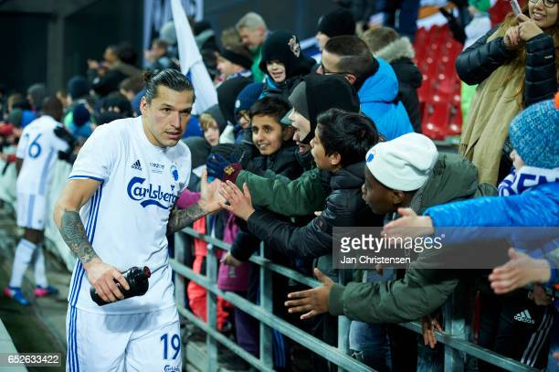 Federico Santander of FC Copenhagen and fans after the Danish Alka Superliga match between FC Copenhagen and Esbjerg fB at Telia Parken Stadium on...