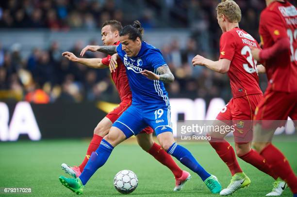 Federico Santander of FC Copenhagen and Stanislav Lobotka of FC Nordsjalland compete for the ball during the Danish Alka Superliga match between FC...