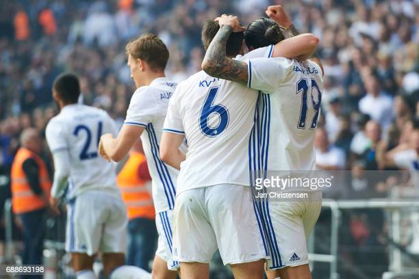 Federico Santander of FC Copenhagen and teammates celebrate after his 21 goal during the Danish Cup Final DBU Pokalen match between FC Copenhagen and...