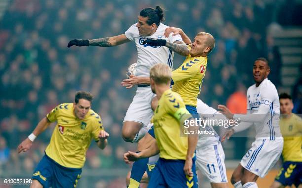 Federico Santander of FC Copenhagen and Teemu Pukki of Brondby IF compete for the ball during the Danish Alka Superliga match between FC Copenhagen...