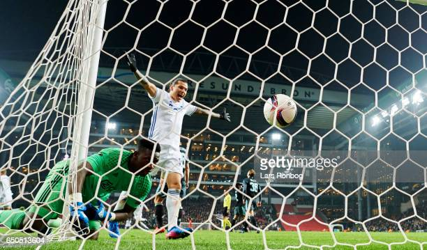 Federico Santander of FC Copenhagen celebrates after Andreas Cornelius scoring their second goal against Goalkeeper Andre Onana of Ajax Amsterdam...