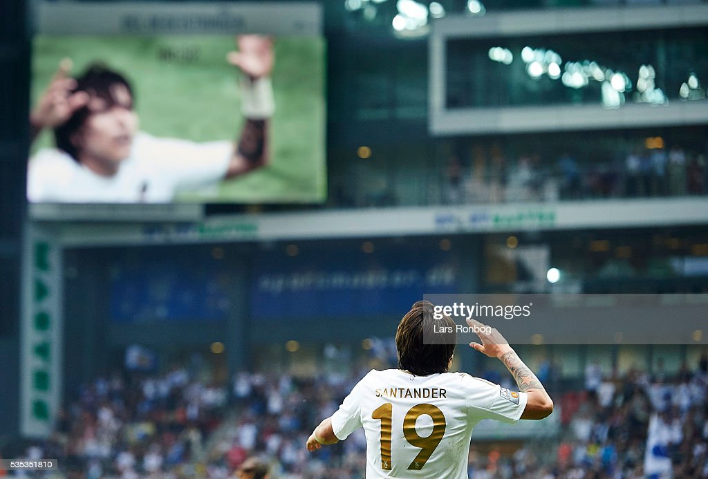Federico Santander of FC Copenhagen celebrates after scoring their second goal during the Danish Alka Superliga match between FC Copenhagen and AGF Aarhus at Telia Parken Stadium on May 29, 2016 in Copenhagen, Denmark.