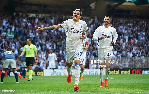 Federico Santander of FC Copenhagen celebrates after scoring their first goal during the Danish Alka Superliga match between FC Copenhagen and AGF...