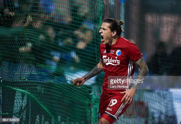 Federico Santander of FC Copenhagen celebrates after scoring their second goal during the Danish Alka Superliga match between Sonderjyske and FC...