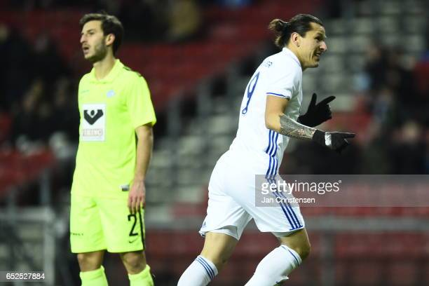 Federico Santander of FC Copenhagen celebrates his 10 goal during the Danish Alka Superliga match between FC Copenhagen and Esbjerg fB at Telia...
