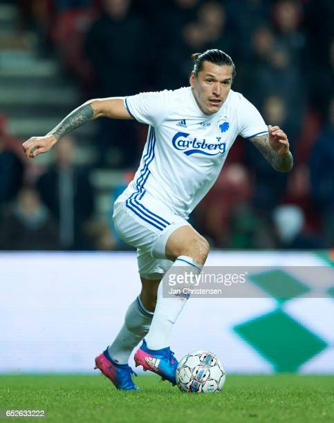 Federico Santander of FC Copenhagen controls the ball during $the Danish Alka Superliga match between FC Copenhagen and Esbjerg fB at Telia Parken...