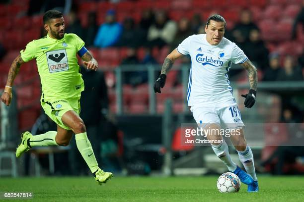 Federico Santander of FC Copenhagen in action during the Danish Alka Superliga match between FC Copenhagen and Esbjerg fB at Telia Parken Stadium on...