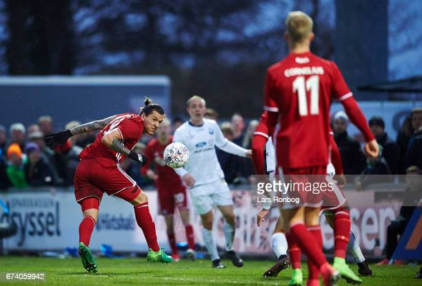 Federico Santander of FC Copenhagen in action during the Danish cup DBU Pokalen semfinal match between Vendsyssel FF and FC Copenhagen at Bredband...