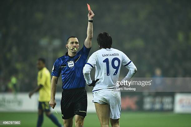 Federico Santander of FC Copenhagen receives a red card from Referee MadsKristoffer Kristoffersen during the Danish Alka Superliga match between...