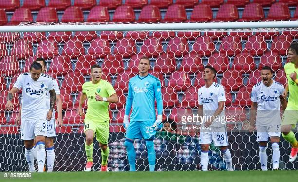 Federico Santander Robin Olsen Pieros Sotiriou and Erik Johansson of FC Copenhagen show frustration during the UEFA Champions League Qualification...