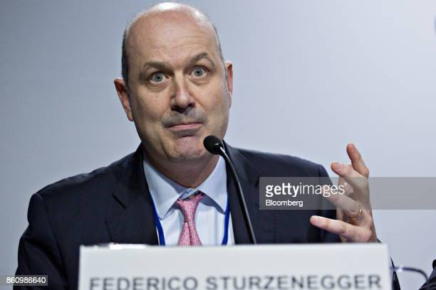 Federico Sturzenegger president of the Central Bank of Argentina speaks during a Group of 20 finance ministers and central bank governors news...